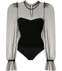 eva tulle bodysuit - black