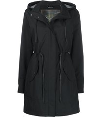 moose knuckles drawstring waist rain coat - black