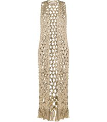 gentry portofino loose knit long-line cardigan - neutrals