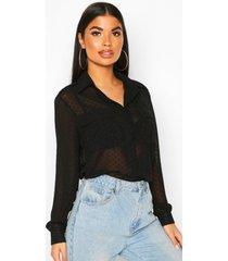 petite dobby mesh shirt, black