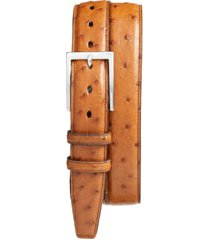 men's big & tall torino ostrich leather belt, size 46 - saddle