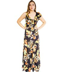 vestido julianna flores otoño negro natalia seguel