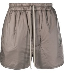 moncler + rick owens metallic effect padded track shorts - neutrals