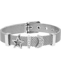 bracciale maglia milanese in acciaio e strass con stella e luna per donna