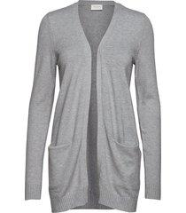 viril ls open knit cardigan noos stickad tröja cardigan grå vila