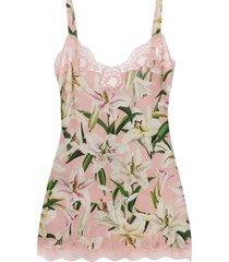 dolce & gabbana underwear floral slip dress - pink