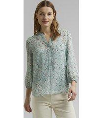 blusa de gasa con estampado turquesa esprit