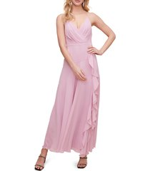 women's astr the label floral ruffle detail maxi dress, size large - purple