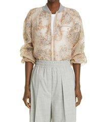 women's brunello cucinelli embroidered silk chiffon jacket, size medium - beige