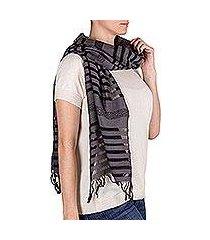 cotton scarf, 'gray totonicapan diamonds' (guatemala)