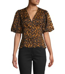 french connection women's leopard-print puffed-sleeve top - orange black - size xs