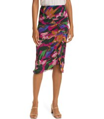 women's dvf christy ruched mesh skirt, size x-large - pink