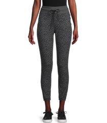 jessica simpson women's felicity leopard-print joggers - silver - size l