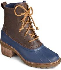 sperry heeled saltwater booties women's shoes