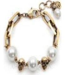 alexander mcqueen pearl-like skull chain bracelet