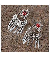 sterling silver filigree chandelier earrings, 'festive chimes' (mexico)