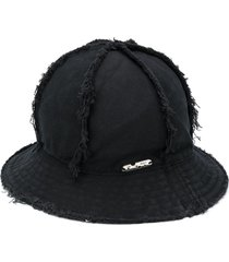 off-white frayed logo plaque bucket hat - black
