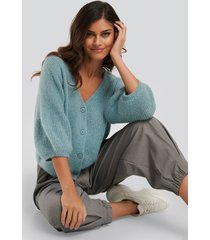 na-kd balloon sleeve short knitted cardigan - blue