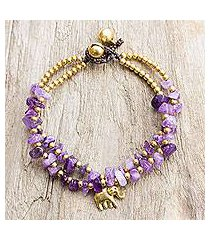brass and quartz beaded bracelet, 'violet elephant' (thailand)