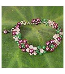 cultured pearl and quartz beaded bracelet, 'radiant blossoms' (thailand)