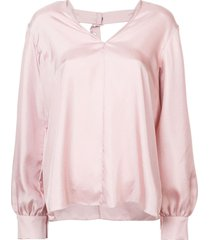 tibi mendini buckle back blouse - pink
