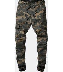 zip mimetica casual da esterno con elastico in vita mimetica jeans per uomo