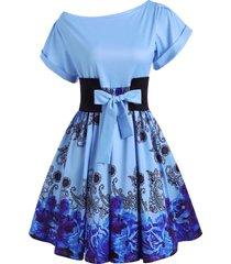 flower cuffed sleeve skew collar belted dress