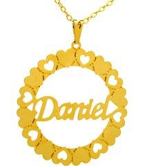 gargantilha horus import mandala daniel banho ouro amarelo 18 k - 1060037