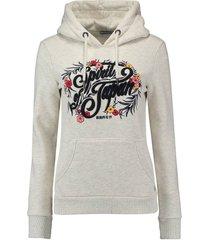hoodie folk floral grijs