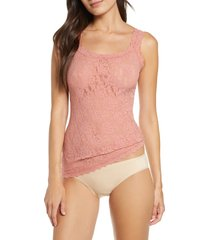 women's hanky panky 'signature lace' camisole, size large - pink