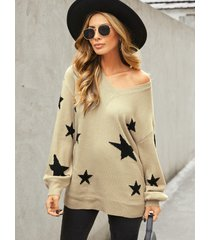 yoins suéter caqui de manga larga con cuello en v y estrella al azar