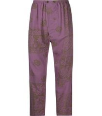 magliano cropped gathered waist trousers - purple