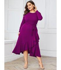 yoins plus tamaño púrpura cinturón diseño redondo cuello vestido