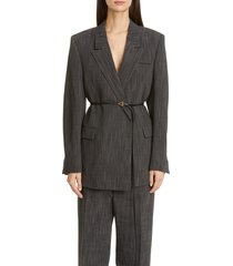women's bottega veneta belted wool blend blazer, size 10 us / 46 it - grey