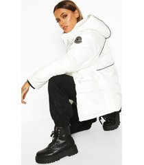 contrast piping synch waist parka, white