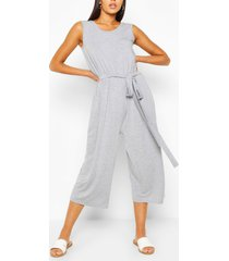 sleeveless jersey belted culotte jumpsuit, grey marl