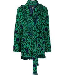 alanui glam jaguar embroidered cardigan - green