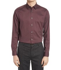 men's ted baker london trim fit geo print stretch dress shirt, size 16 - purple