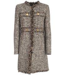 boucle coat w/fringes