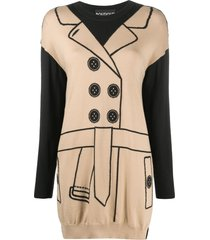 boutique moschino trench coat print jumper dress - neutrals