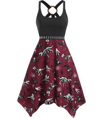 o ring dinosaur bat skeleton print handkerchief dress