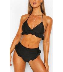 bikinibroekjes met stroken en hoge taille, zwart