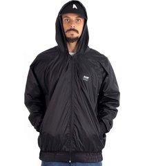 jaqueta corta vento anorak alfa básica preto impermeável