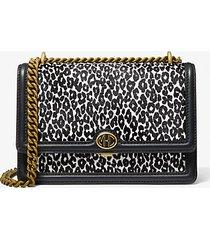 mk borsa a spalla monogramme in pelle effetto cavallino stampa leopardo e catena - nero/bianco (nero) - michael kors