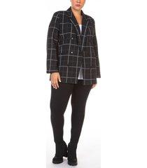 black tape plus size open-front textured button-front twill blazer