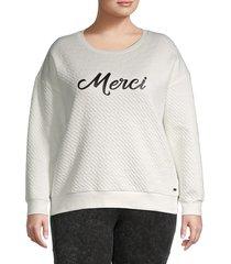 marc new york performance women's quilted merci graphic sweatshirt - winter white - size 2x (18-20)