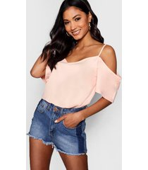 woven strappy open shoulder top, nude