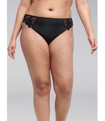 lane bryant women's embroidered thong panty 26/28 black