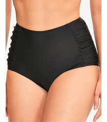 rene high waisted ruched tummy control black bikini bottom