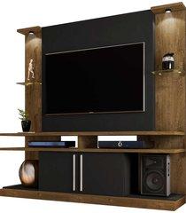 home york c/ luminária led p/ tvs até 60 polegadas madeira rústica/preto fosco móveis bechara